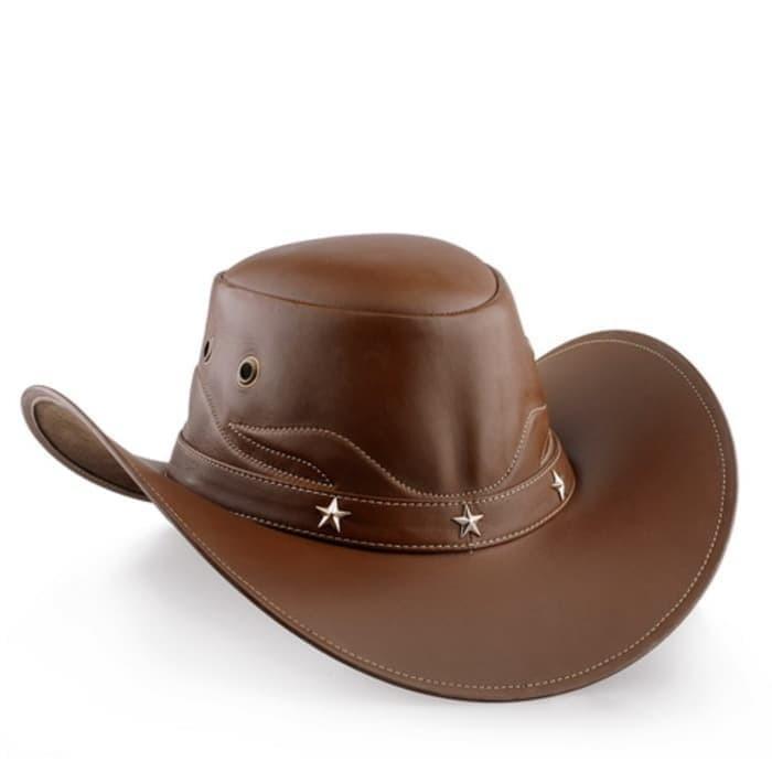 Topi koboi made in garut dari kulit asli