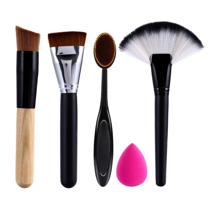 Kuas Makeup Brush Set 5pcs- Foundation Contour Oval Fan Beauty Blender  / make up brush / Alat Kecantikan / Alat Make up / Brush Makeup set / Kuas Wajah Terbaik Dan Termurah / Brush Wajah Terlengkap / Kuas Makeup
