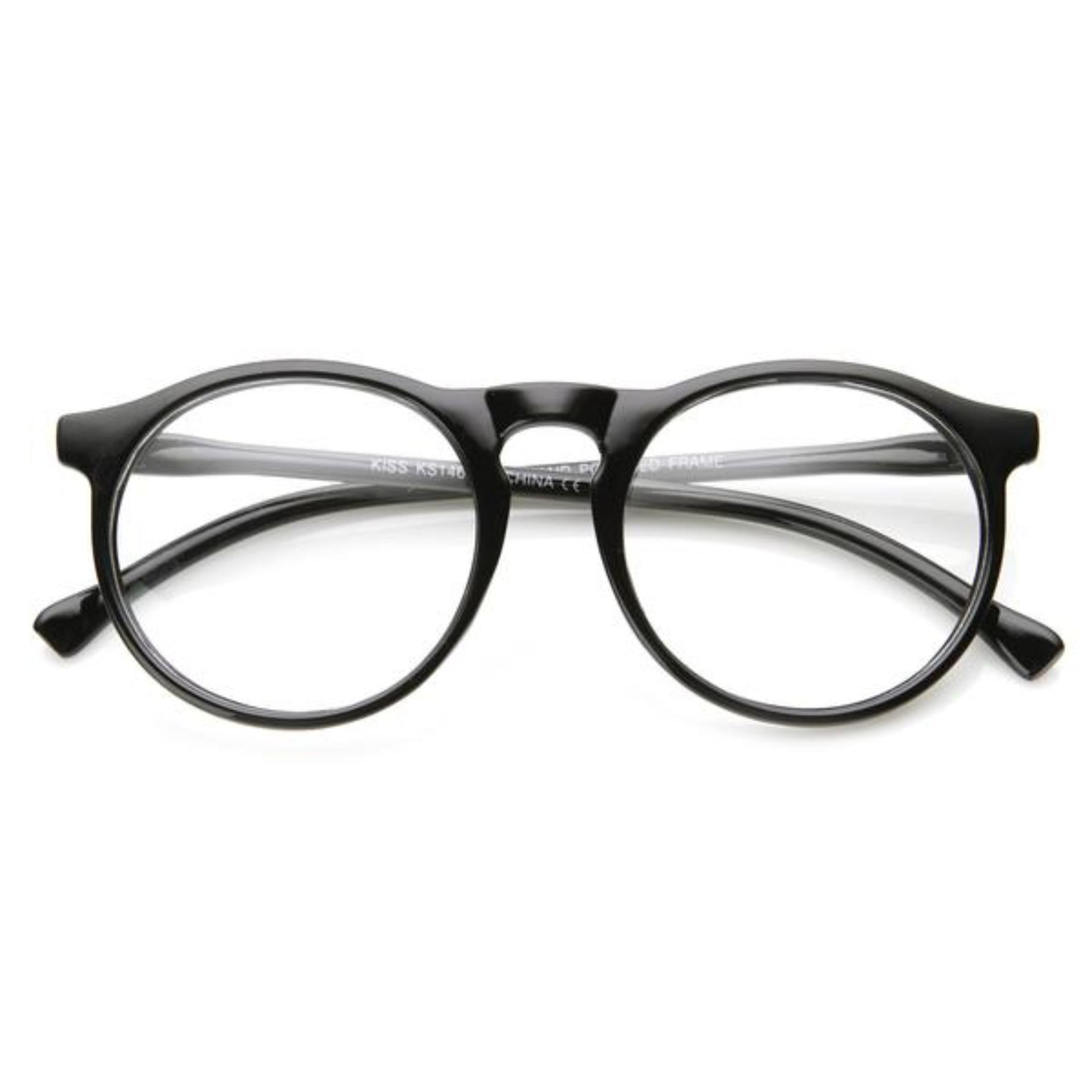 Indi Retro Round Clear Lens Fashion Glasses 14977 M - Kacamata Pria