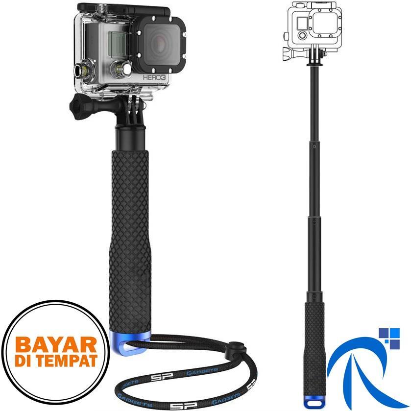 Rimas Metal Lid Pov Extendable Pole Monopod 48 Cm For Gopro Xiaomi Yi - 2 4K - Blue / Biru  - Aksesoris Accesories Kamera Camera Mudah di Bawa Kemana Saja Ringan Kokoh Kuat Berkaulitas