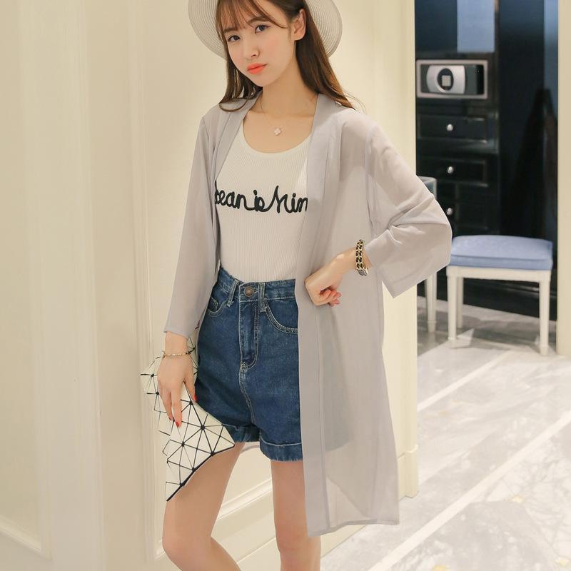 Mm Baju pelindung matahari Sifon musim panas kardigan Gaya Korea wanita