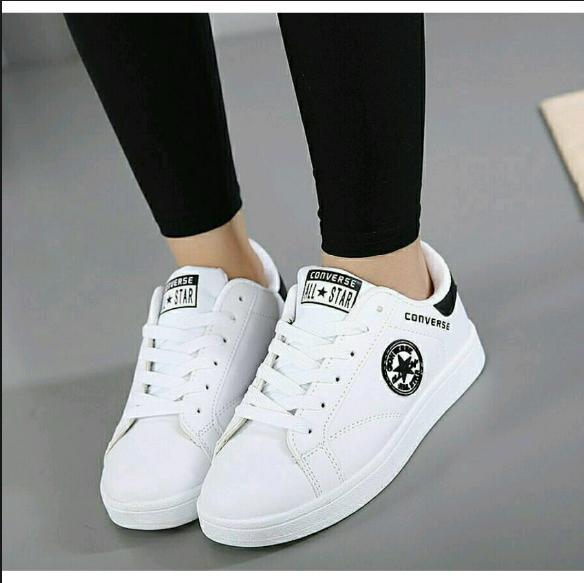 Sepatu Wanita All Star Converse Trendy Masa Kini .(Warna Putih Kombinasi Hitam)