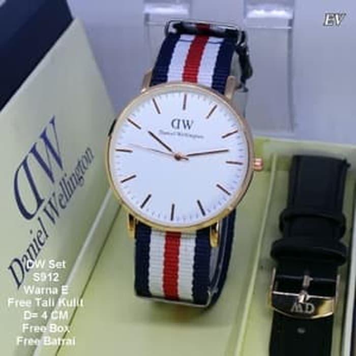Jam Tangan Wanita / jam tangan Pria Unisex Dw Set Tali Kanvas Color E