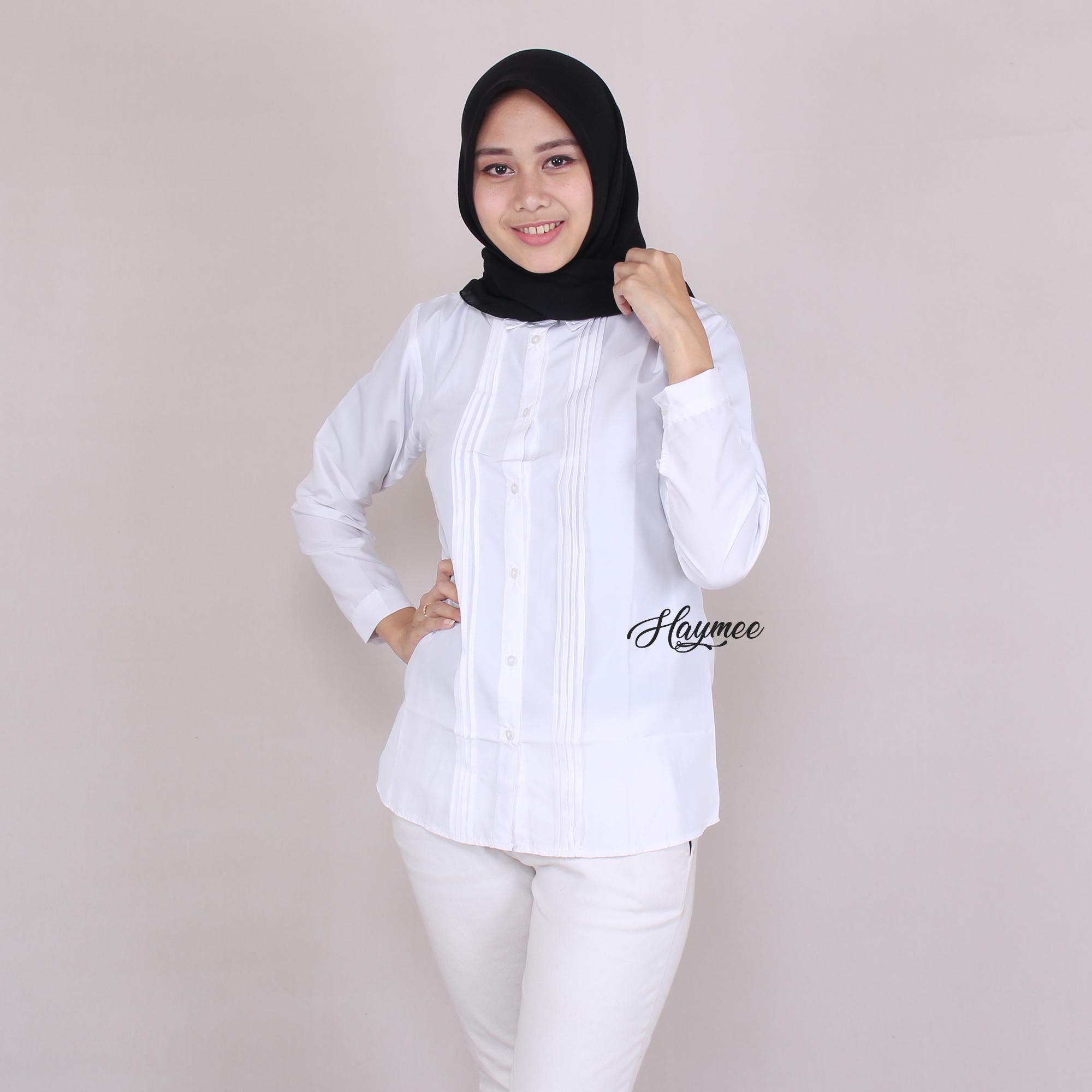 HaymeeStore Kemeja Putih Polos Wanita Baju Kantor Cewek Formal Atasan Kerja cewe Variasi Rempel
