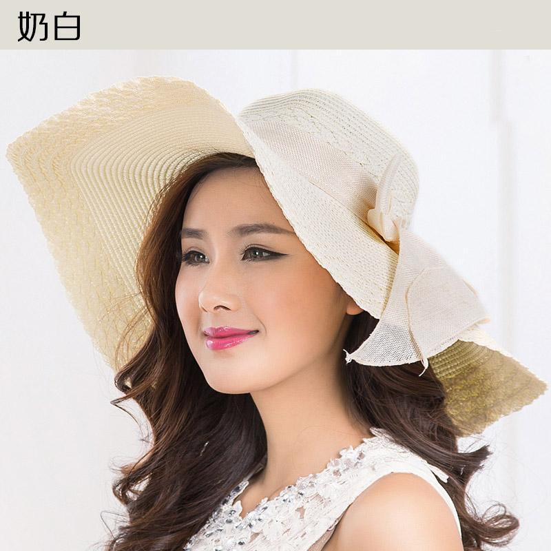 Topi Matahari Bisa Dilipat Hat Pelindung Terik Matahari Pantai (Topi Jerami 2 Putih Susu)