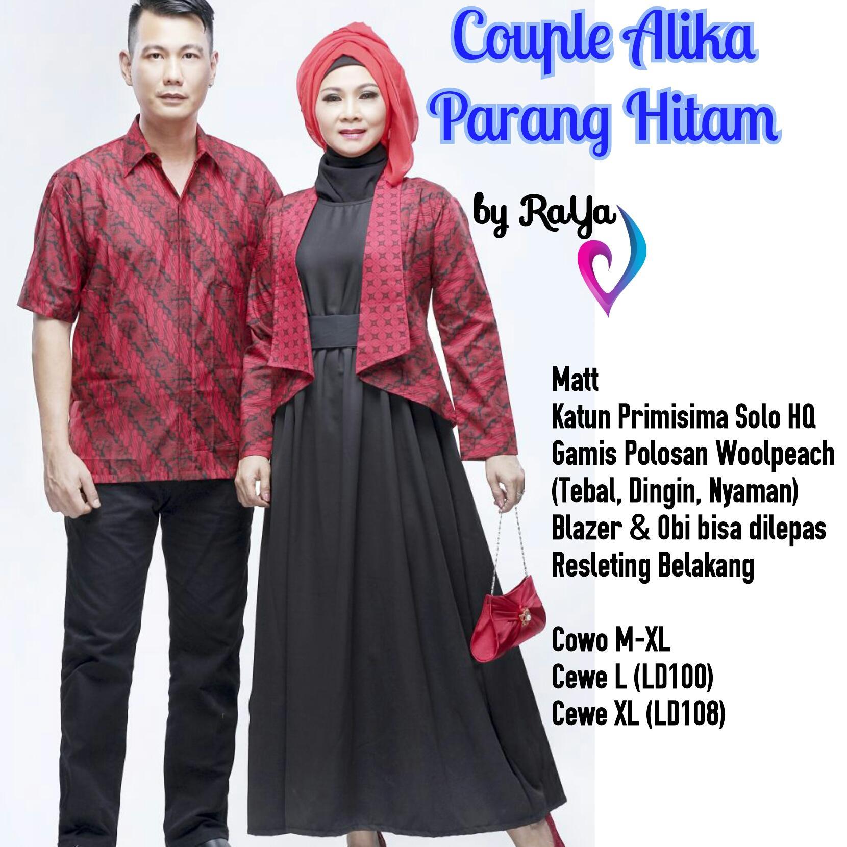 Diskon Harga Baju Gamis Batik Parang Terbaru Termurah Bulan Ini 098 Couple Keluarga Alika Hitam Seragam