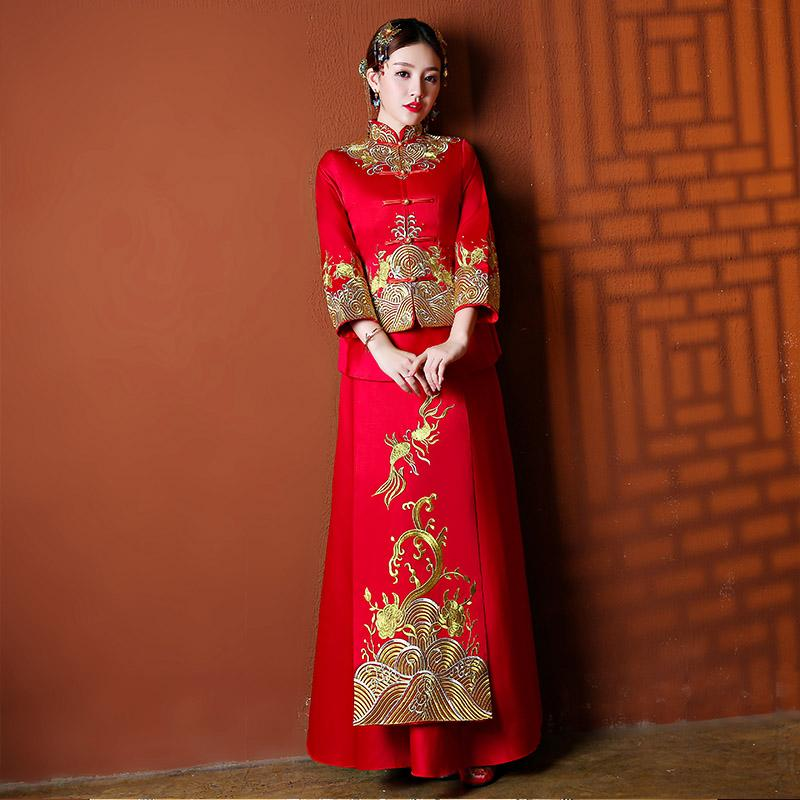 Xiu Wo Pakaian Gaun Pengantin Retro Mempelai Wanita Gaun Istana Pernikahan ( Merah Tua)