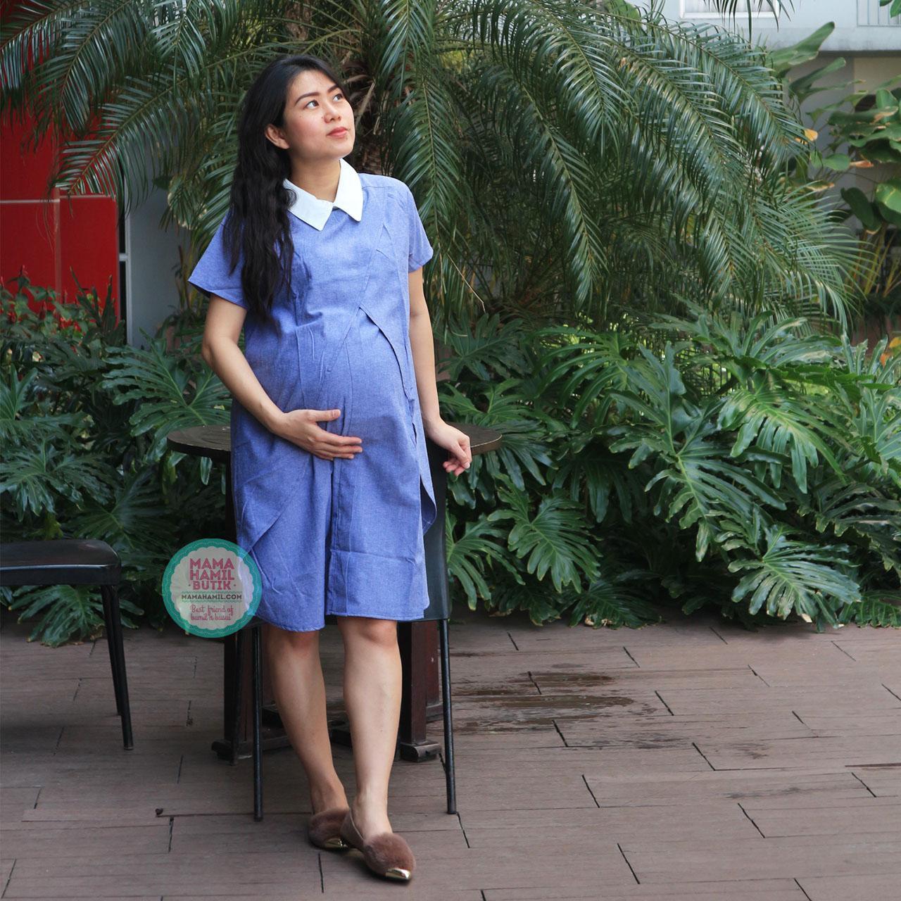 Mama Hamil Baju Hamil Dress Hamil Menyusui Sofie Dress Krah Putih Kerja Modis - DRO 848