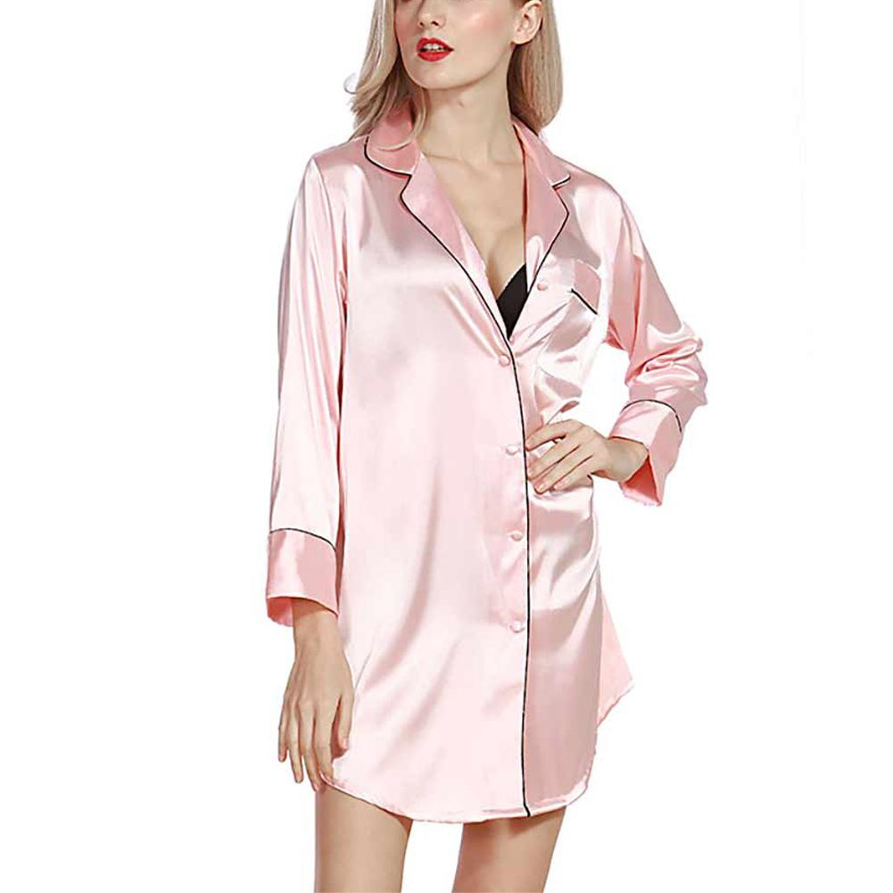 Big House Simulation Silk Shirt Pajamas Nightgown Underwear Homewear Nightdress