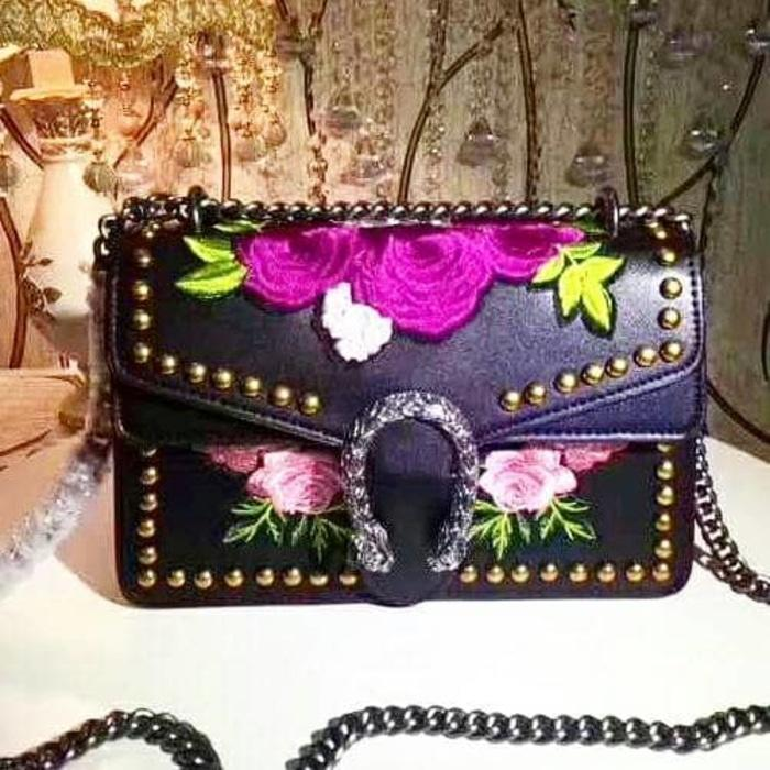 HARGA SPESIAL!!! Limited edition! Tas gucci dionysus black floral. ori leather - fcO6c9