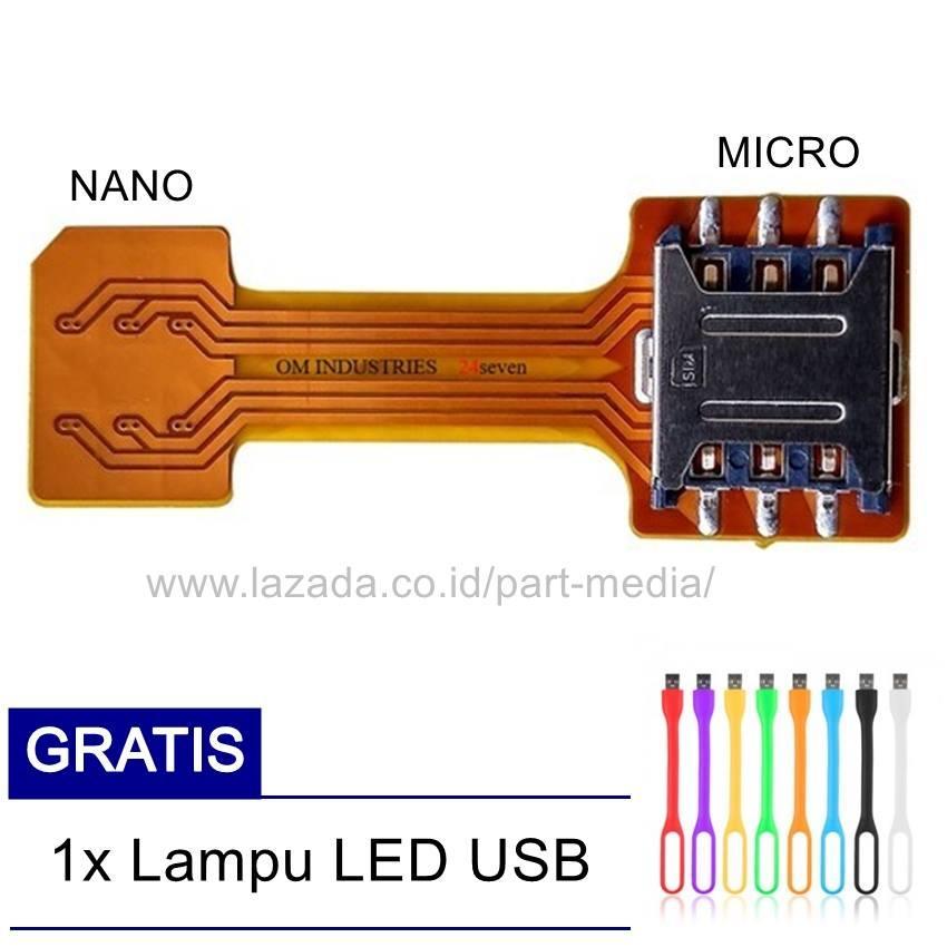 Dual Sim Card Adapter Hybrid Sim Card Extender Microsd Card Converter + Free LED USB