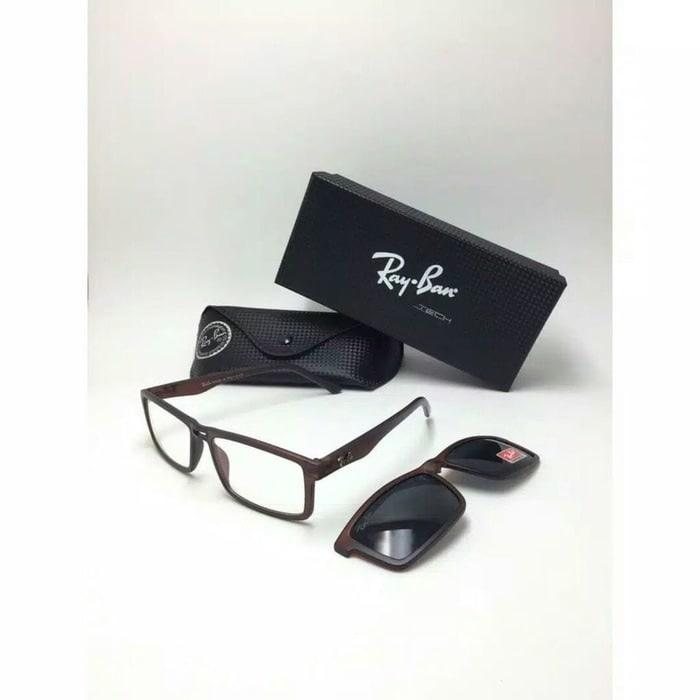 Kacamata Frame Minus Sunglass Murah Rayban Clip On Hitam Kilap 4f66146dbd