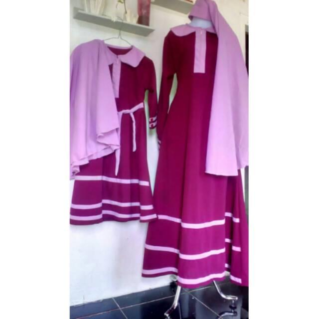 Set Gamis Syar'i Couple Ibu Dan Anak Warna Maroon Kombinasi List Dusty Pink,  Murah, Cantik (Set Anak 1-2 th)