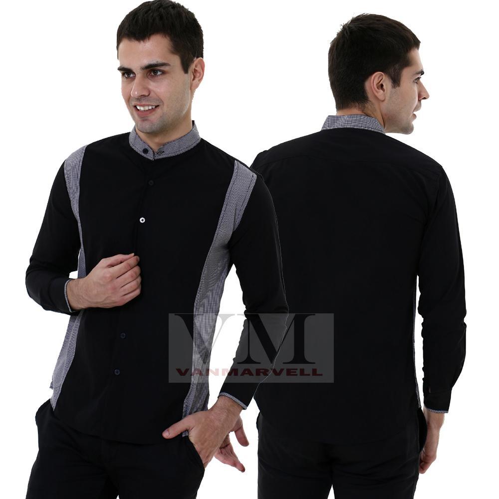VM Kemeja Krah koko Slim Hitam Slimfit Panjang - Long Shirt