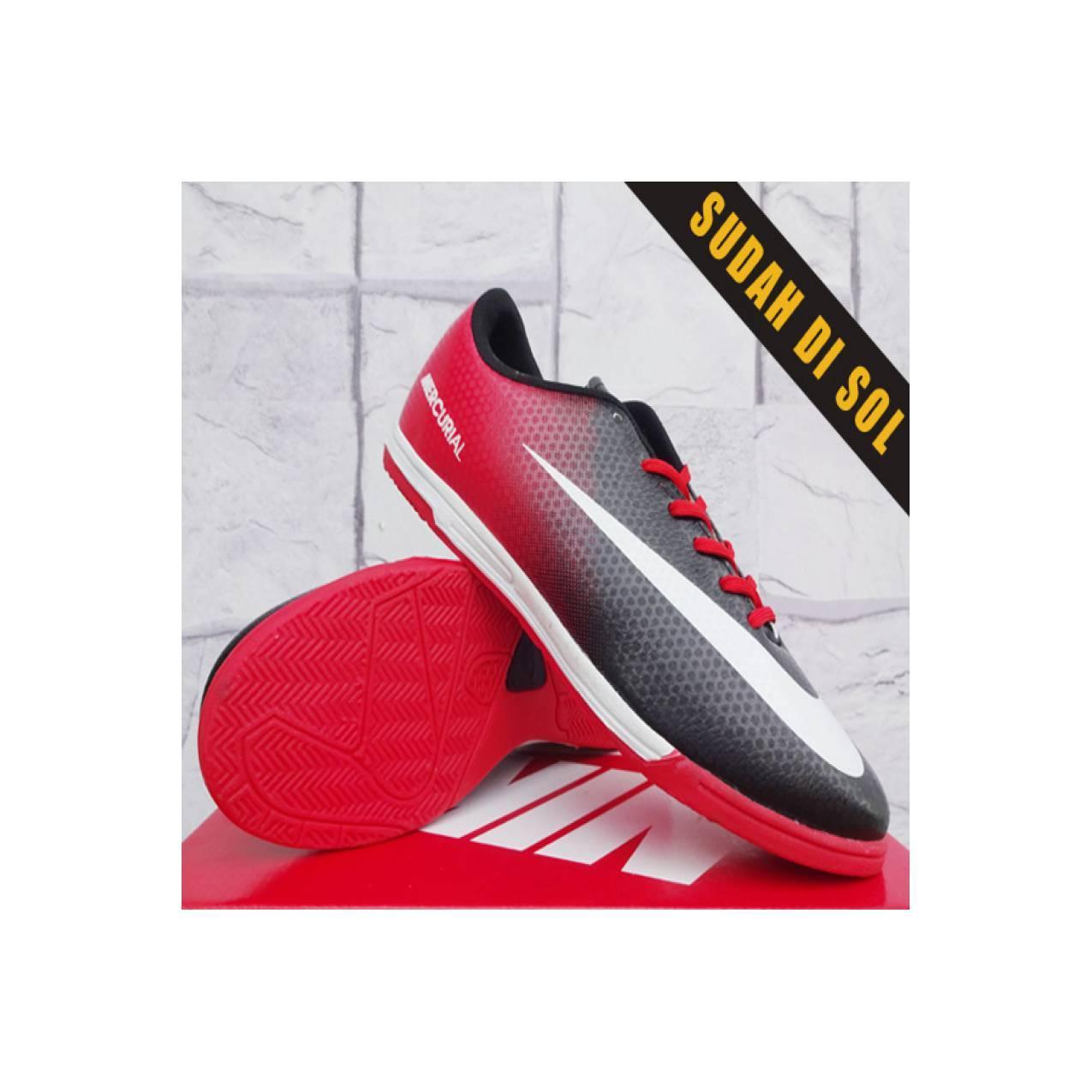 Nike Mercurial Vapor IX Hitam merah(sepatu futsal,bola,sekolah,ol