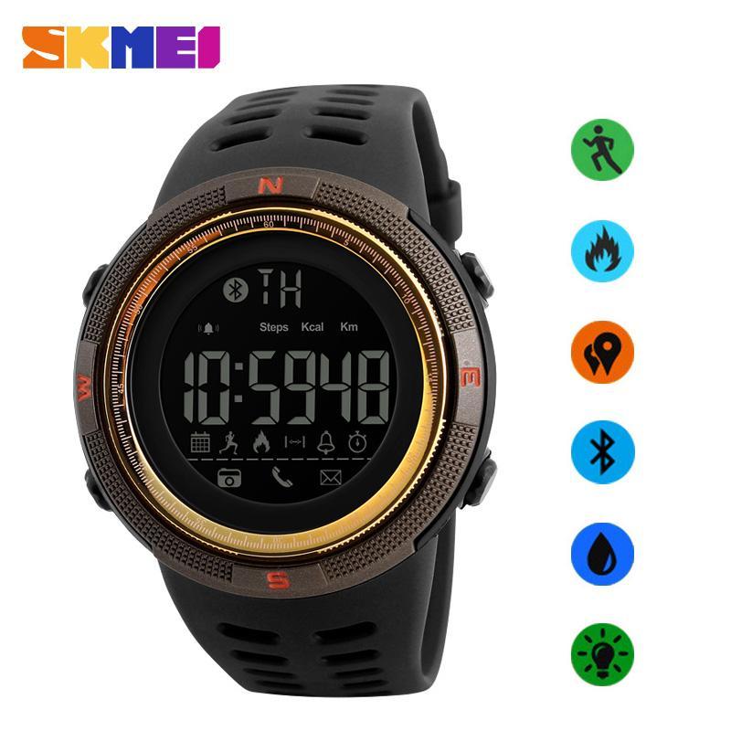 SKMEI merek Watch pria Smart Watch Chrono kalori Pedometer Multi-Fungsi olahraga Watches pengingat jam tangan Digital Relogios 1250