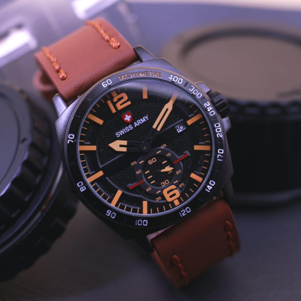 ... Leather Strap Daftar Source · swis army original jam tangan pria swiss army SA 7811 detik bawah aktif crono