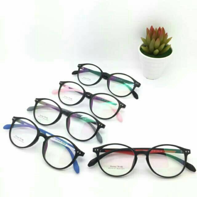 Frame Kacamata Murah, Kaca mata Wanita, Kacamata Fashion, Kaca mata Anti Radiasi, Minus dan Plus Variasi Hitam Full