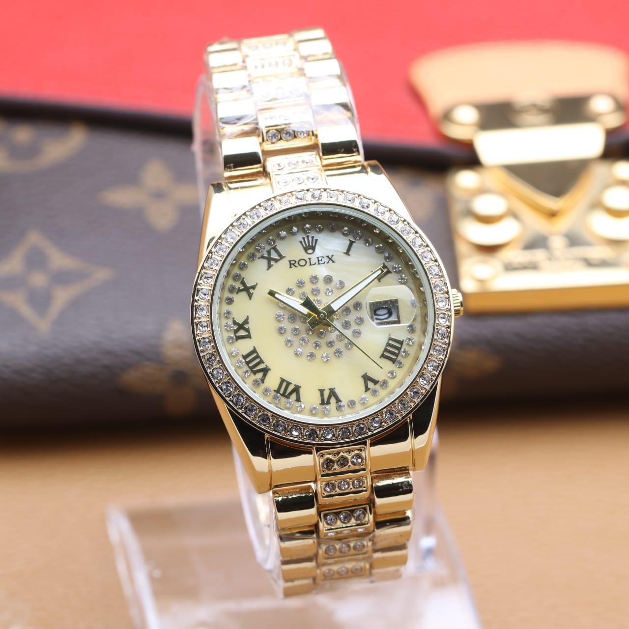 Jam Tangan Wanita Analog Rolex Crystal / Watch Analog Rolex 1