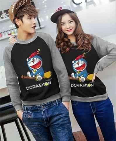 [Couple Doraemon Magic Hitam Abu Misty LO] couple baju babyterry hitam