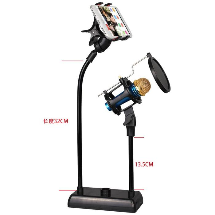 Flexible Stand Mic Mikrofon + Lazypod Smartphone + Pop Filter