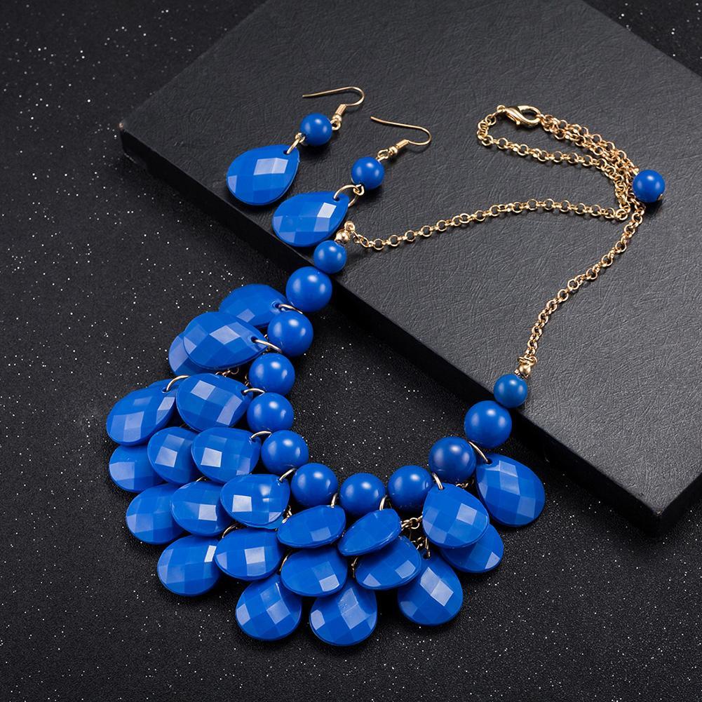 Jual panas berlebihan perhiasan merek grosir fashion paduan anting kalung set ekspor FSS004-C FSS004