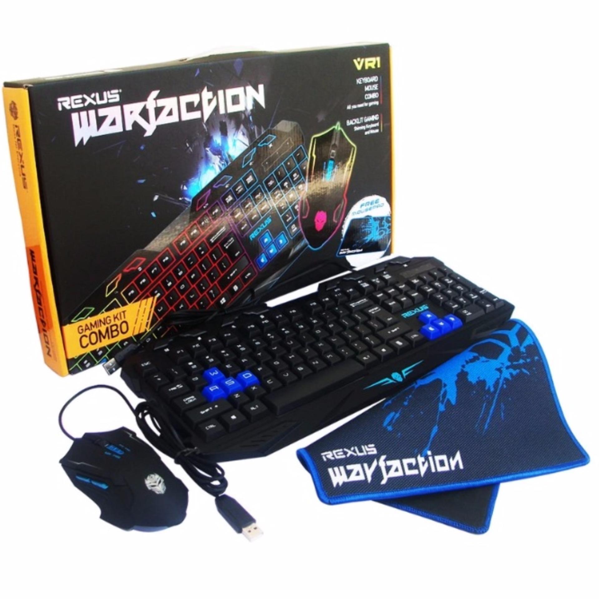 Jual Keyboard Gaming Rexus Terbaru Kx1 Backlight Semi Mechanical Vr1 Warfaction Mouse Mousepad Combo Hitam