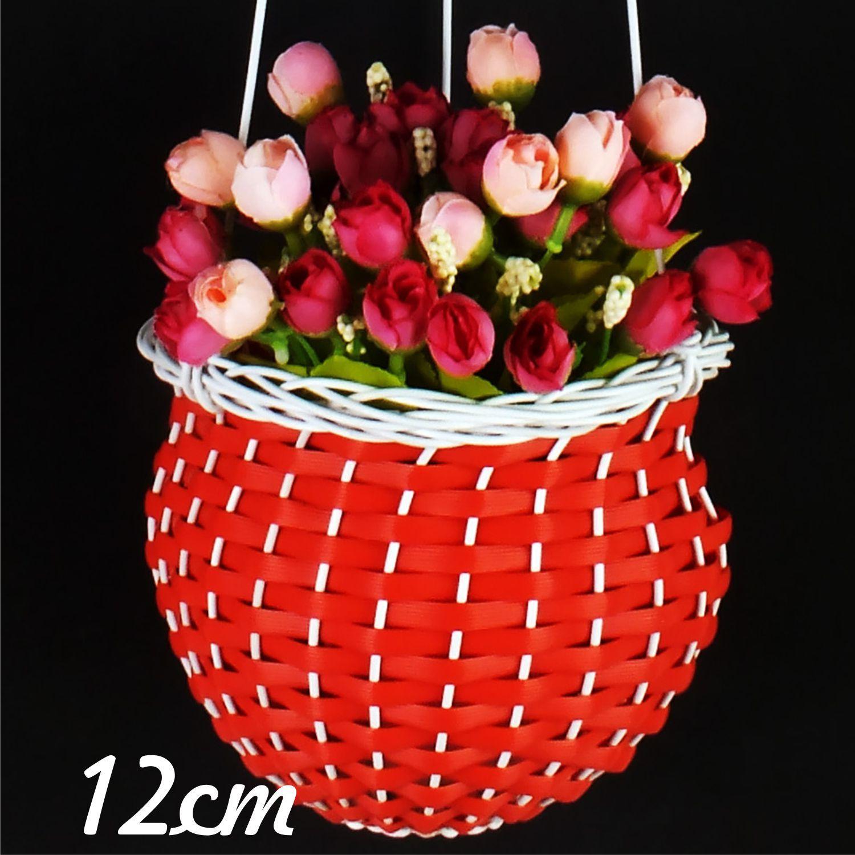 Sumber Plastik - Pot Gantung Tanaman Bunga Rotan Sintetis - Lubang 12 Cm
