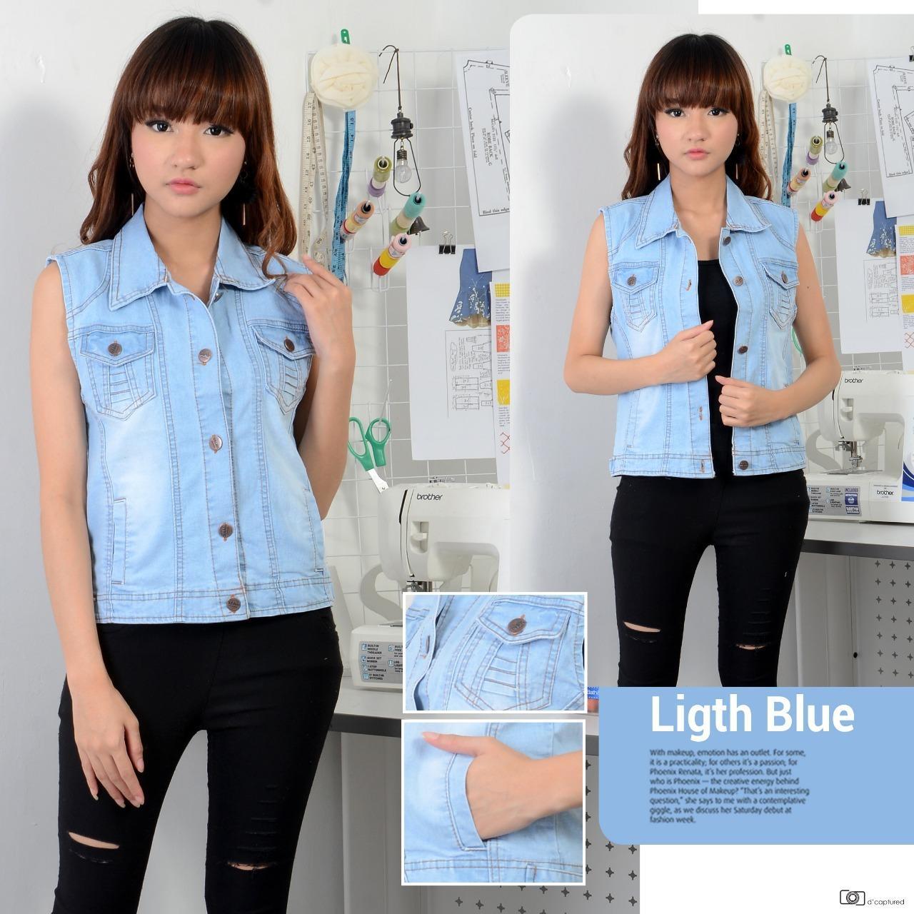 XV Jaket Rompi Jeans Wanita LIGHT blue- DARK BLUE (Kualitas Premium)/ Rompi Denim / Outer Cardigan