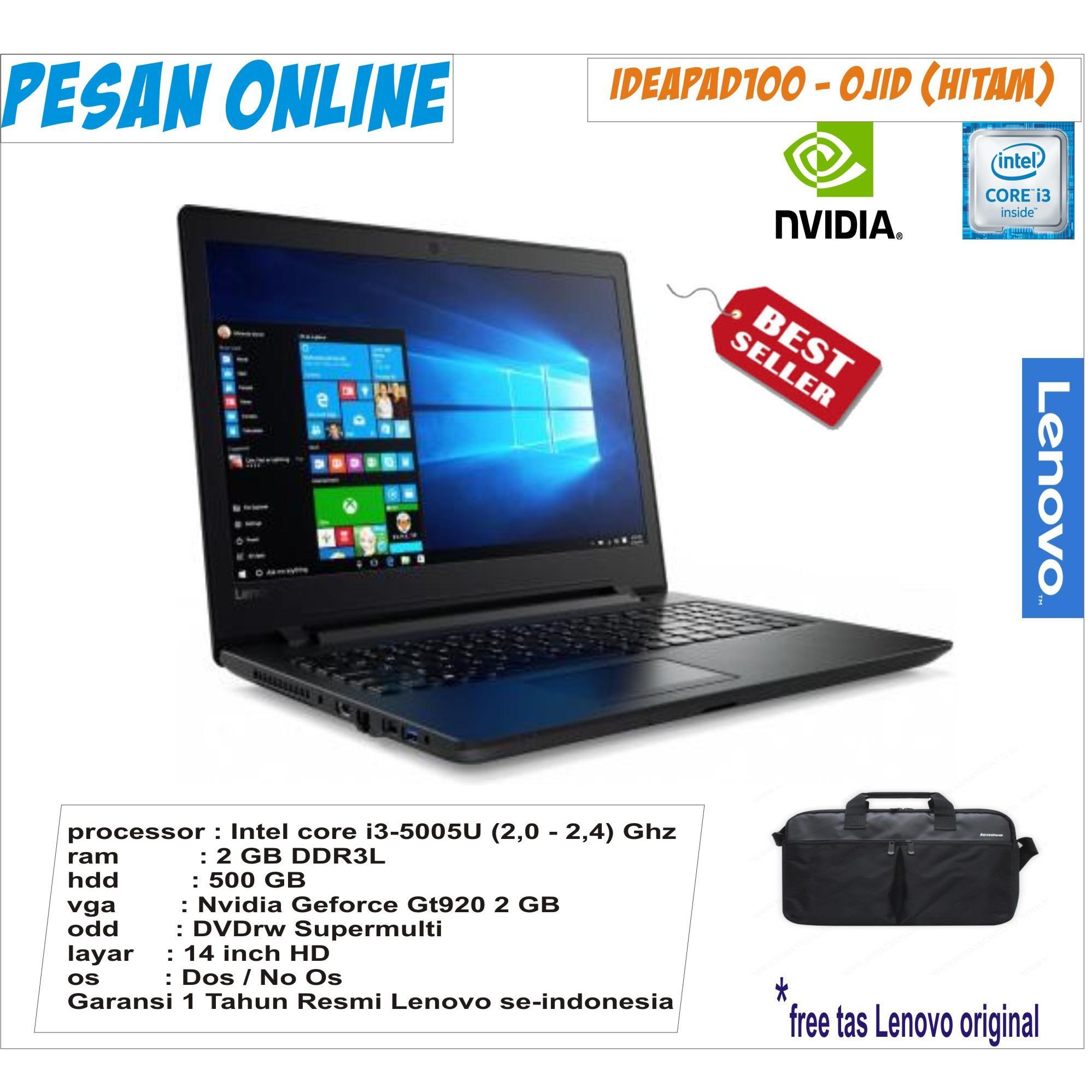 lenovo ideapad100 core i3/ ram 2 gb/ 500 Hdd/14 Inch hd/dos/ garansi resmi lenovo indonesia
