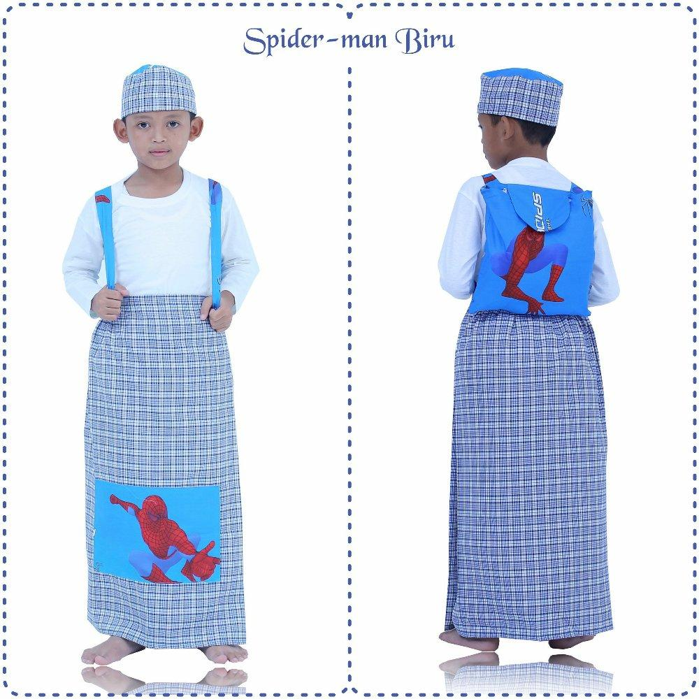 Sarung Instan Anak Karakter Spiderman Biru Size M di lapak Mukena Yumna mukenayumna