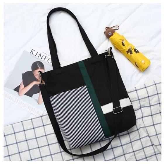 PROMO Korea Tote Shoulder Bag / Tas Kanvas / Tas Handbag Import - JC006 - Navy