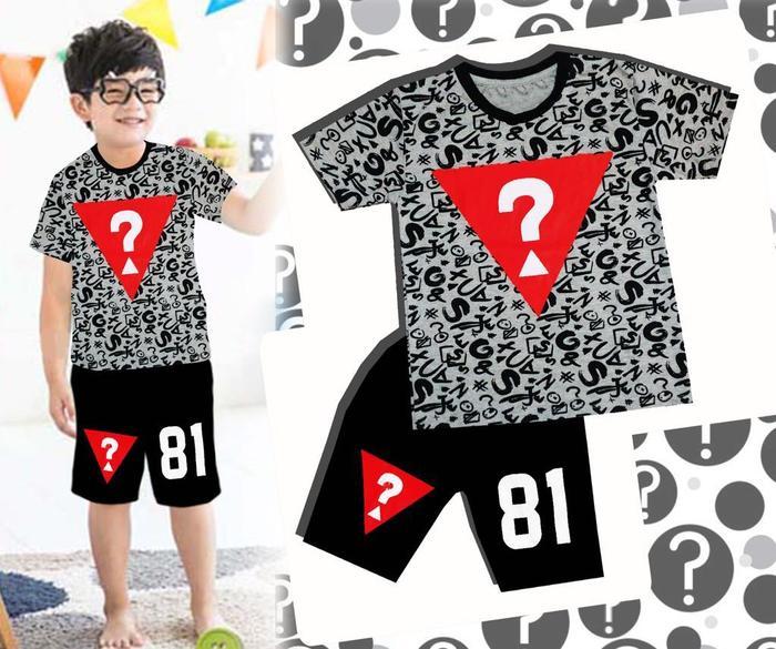 [ update terbaru ]  (8-13th) Baju Setelan Anak Cowok Laki London Kids Guess Abu Hitam