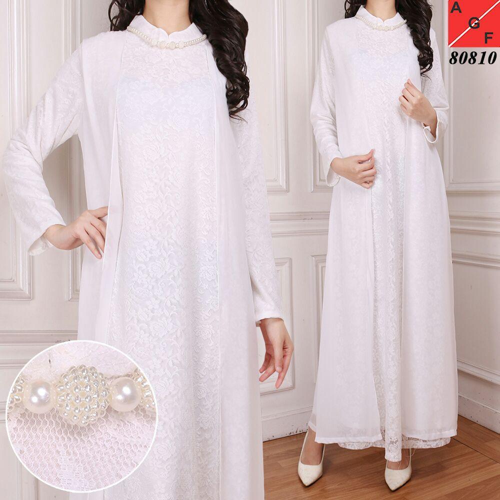 Baju Gamis Wanita / Gamis Brukat / Gamis Putih Umroh Haji / Busana Baju Muslim Wanita  #80810 STD (SIZE L)