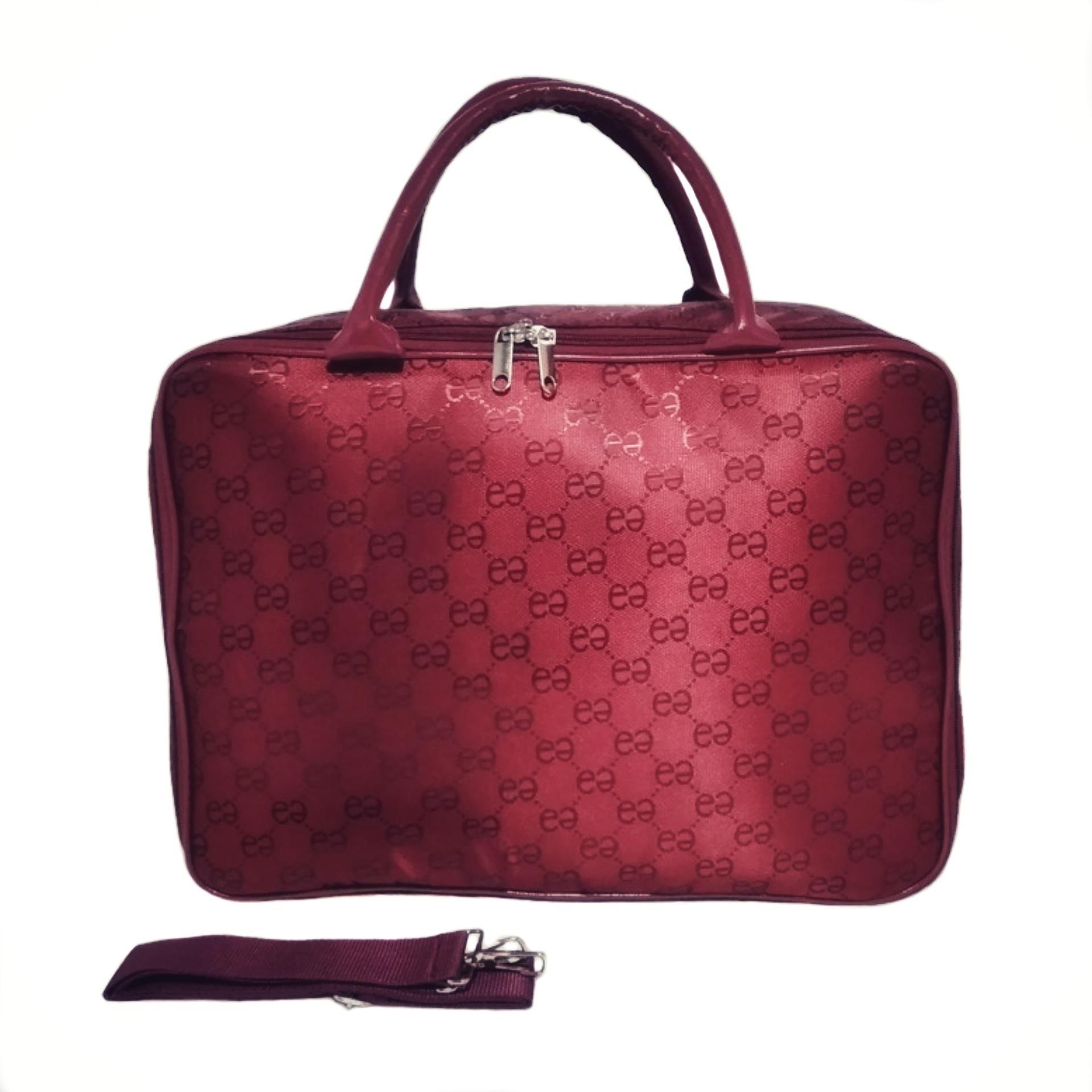 3cae73b602 AMT Tas Koper Travel Bag Fashion Pria dan Wanita Bahan Emboss Premium - Red