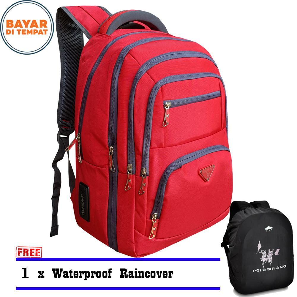 Polo Milano Tas Ransel Tas Laptop Tas Punggung Tas Kerja dan Kuliah 88099RZ-18 Highest Spec Polo Backpack Import Original Red Free Raincover