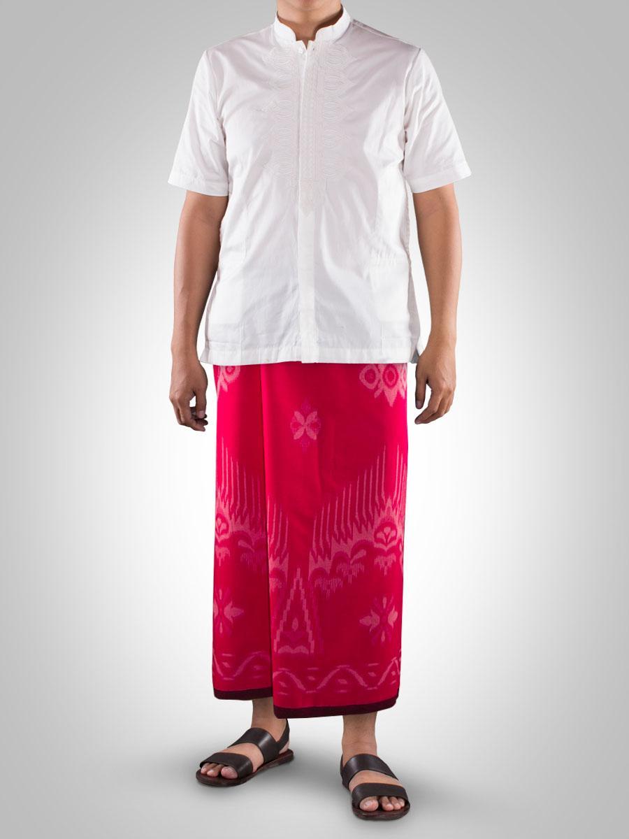 1 Pcs Sarung Tenun Mangga GOLD Motif Kembang  ( Warna Random )