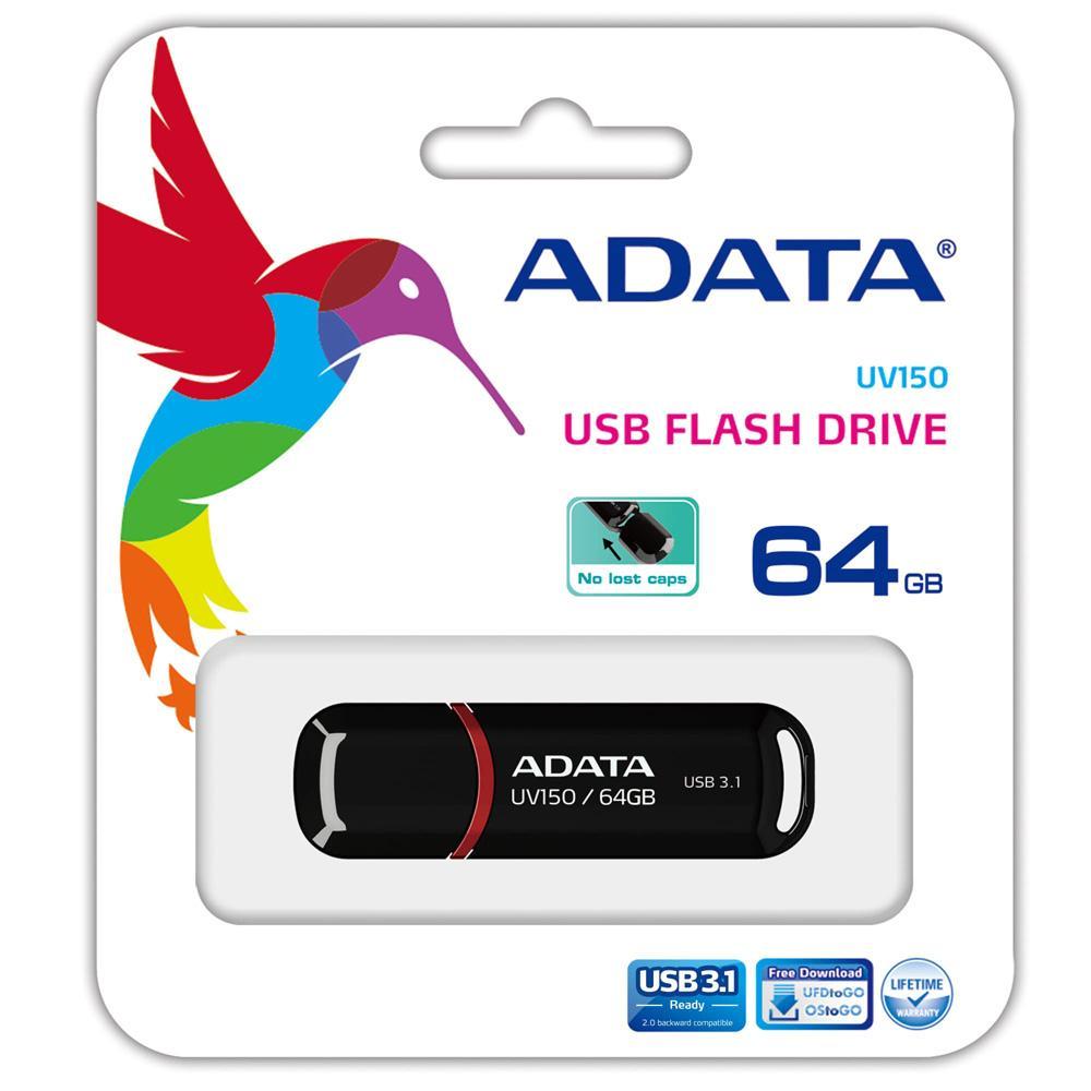 Adata Flashdrives Uv150 - Flashdisk Usb 3.1 Super Speed 64 Gb Black By Adata Official Store.