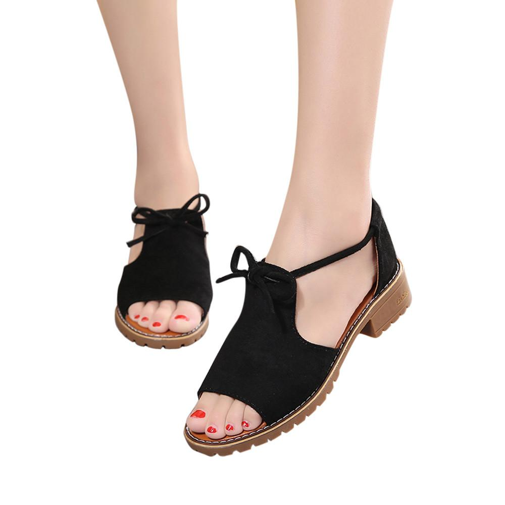 GUO Women's Ladies Lace Up Wedge