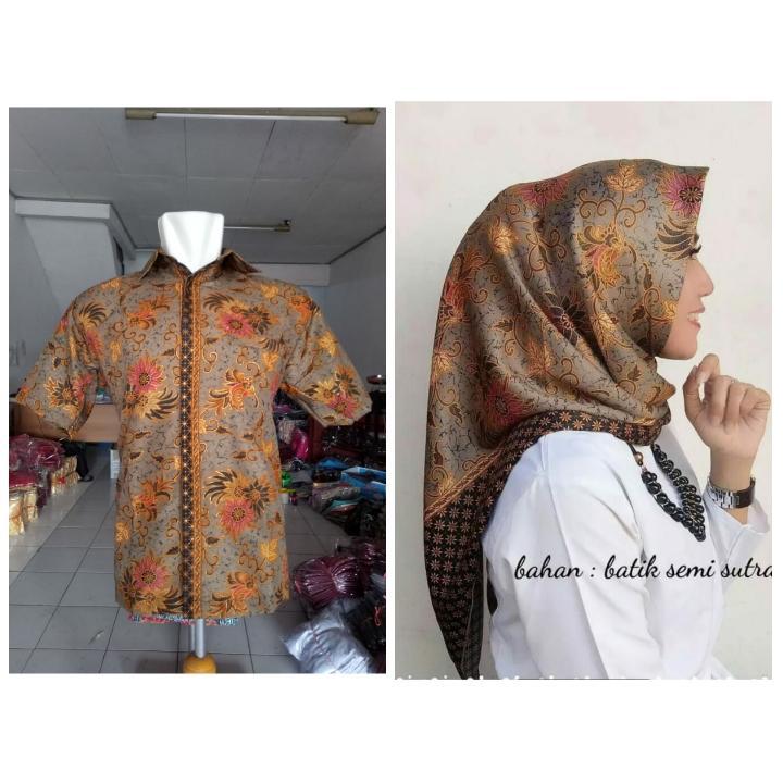 Cj collection Batik couple Hijab segi empat square dan atasan kemeja pria dewasa jumbo shirt Naira