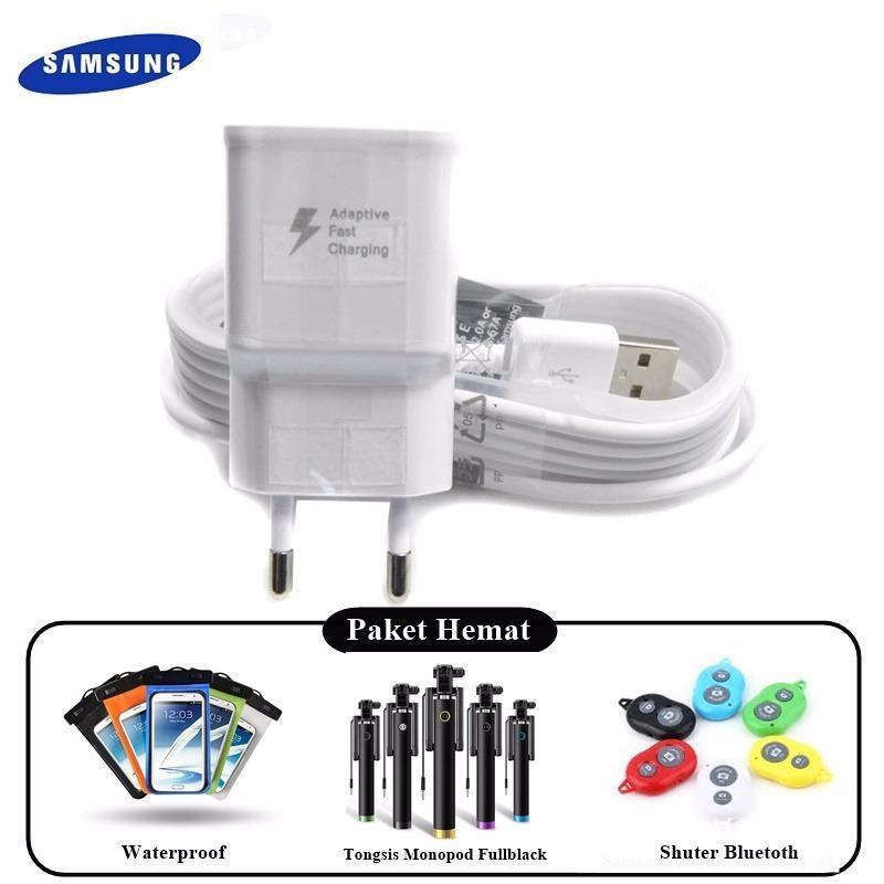 Paket Hemat Samsung Travel Charger Micro USB Fast Charging Original 100%  + Waterproof + Tongsis Monopod Full Black + Shutter Bluetoth