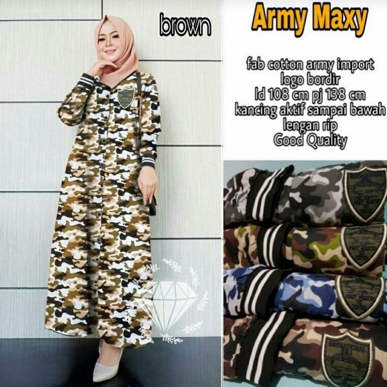 MT baju muslimah gamis army cokelat/baju muslim-fashion-fashion wanita-new fashion-gamis syar'i