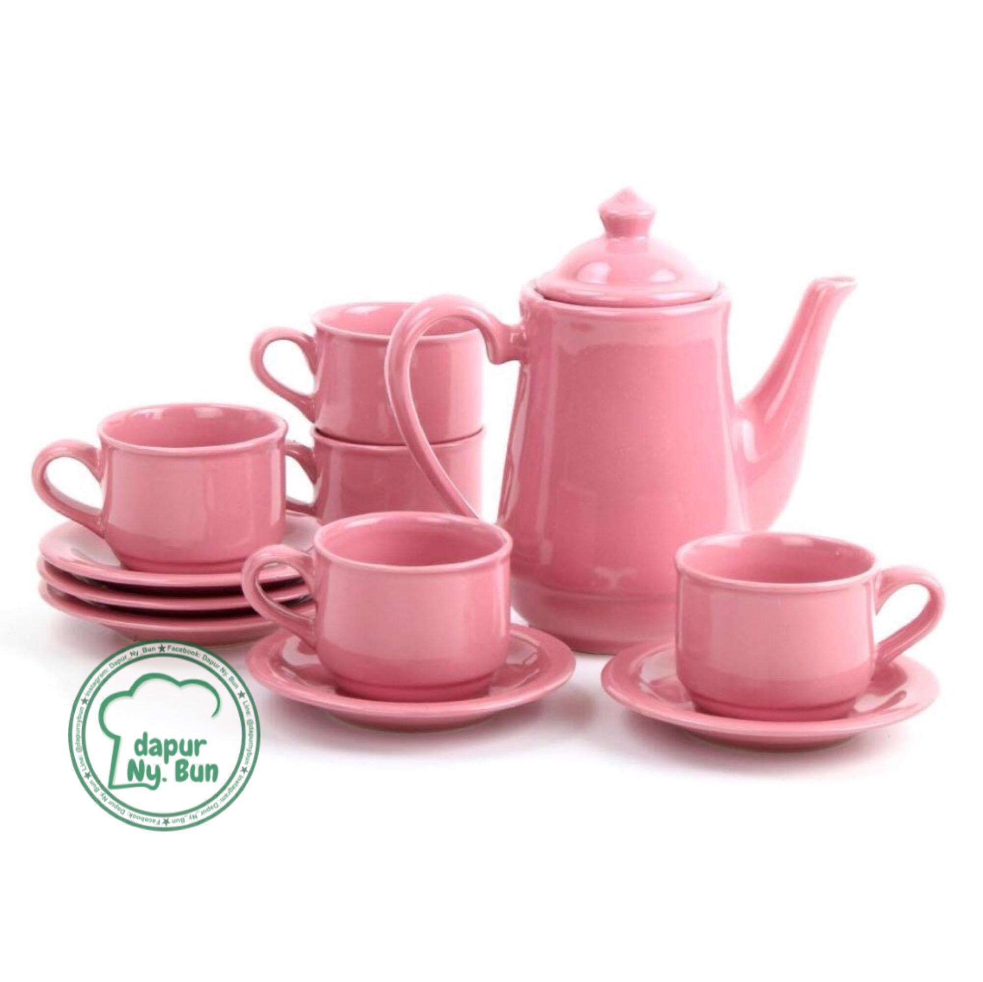 Tea Set Nikura / Coffee Set / Teko + Tutup / 5 Cangkir + 5 Saucer