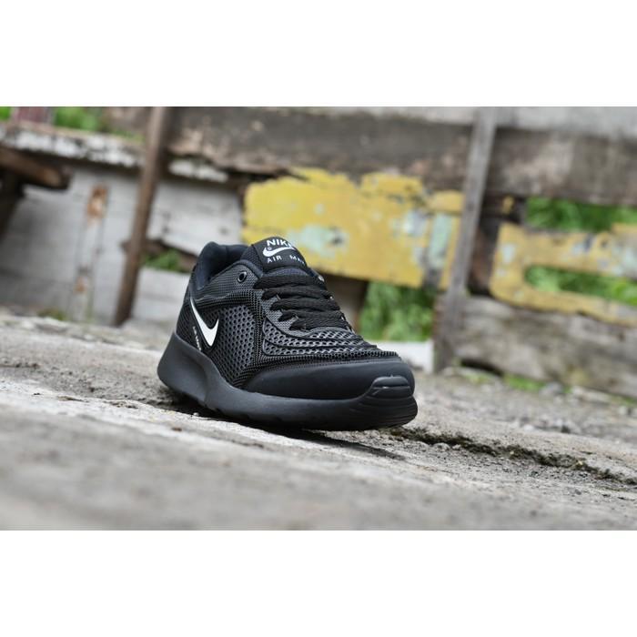 Promo Termurah Sepatu Sport Nike Airmax Running Men - Full Black Hitam Sekolah Kerja Gratis Ongkir