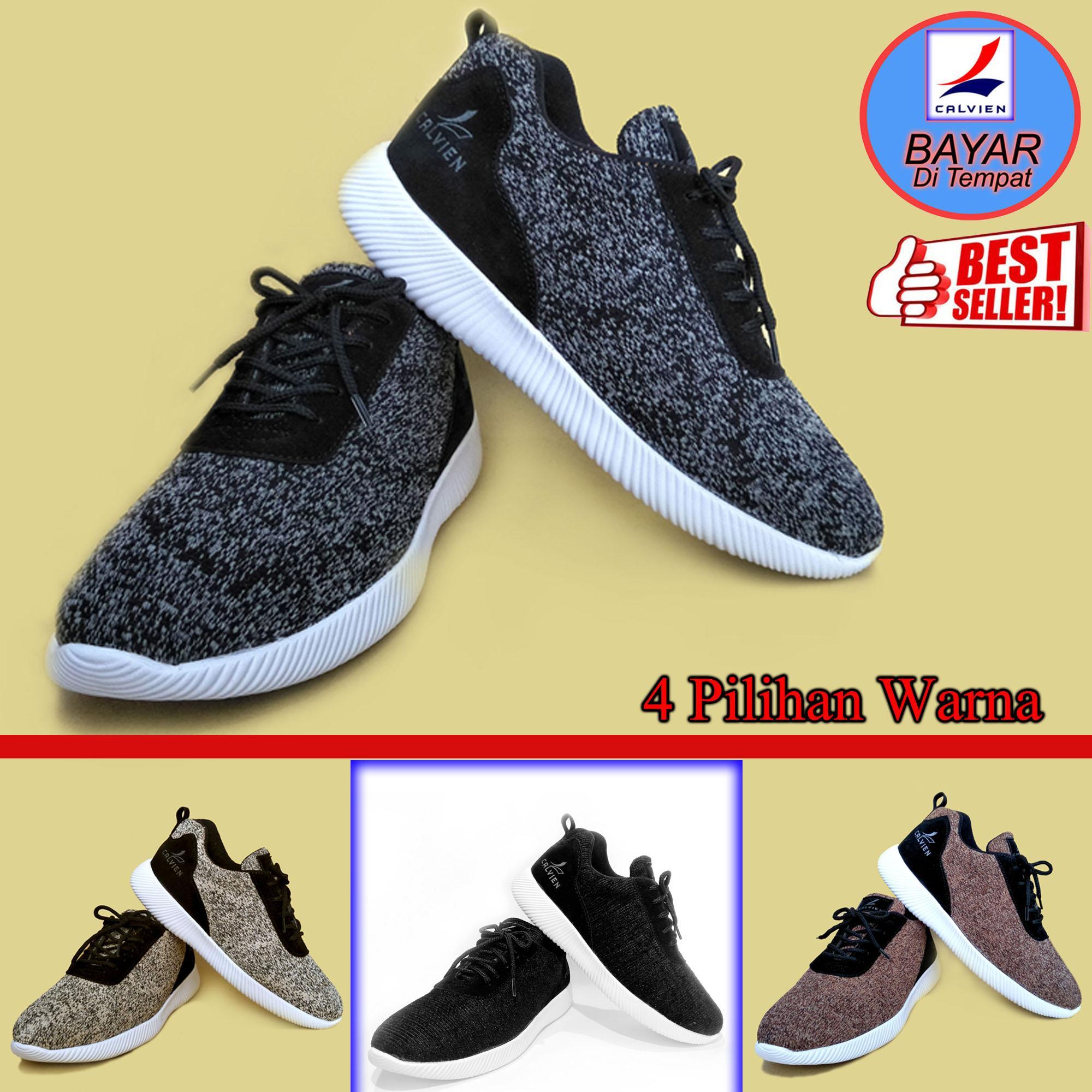 Jual Sepatu Sneakers Pria Terbaru Catenzo High Super Black Calvien Kets Olah Raga Kasual Kode