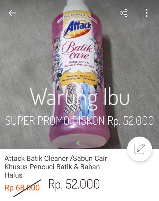 Attack Batik Cleaner /Sabun Cair Khusus Pencuci Batik & Bahan Halus