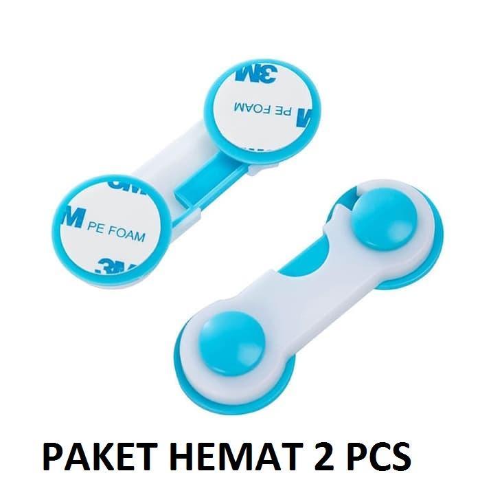 PAKET HEMAT 2 PCS Pengaman Pengait Laci Lemari Pintu Kulkas Bayi Baby Safety Lock Band