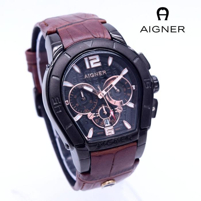 PROMO Jam Tangan Pria / Cowok Aigner Bari Leather Brown