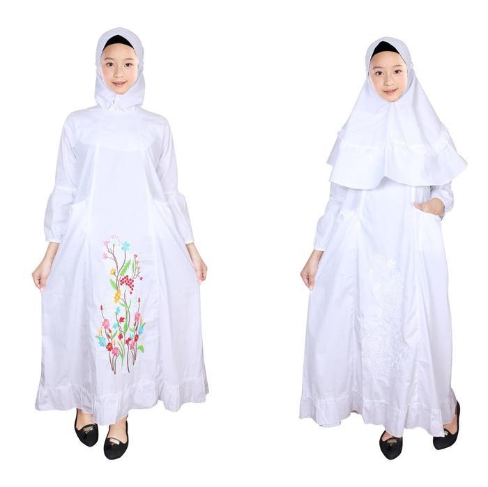 Baju Gamis Anak Putih Fayrany FGP-010A Usia 2 - 6 Tahun - Bordir Warna