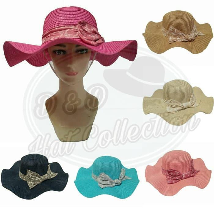 D   D Hat Collection Topi Pantai Import Anyaman Topi Fashion Bergelombang  Pita Bunga Besar 5453fc8d57